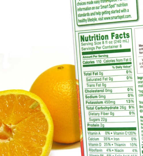 nutritional information of a carton and oranges
