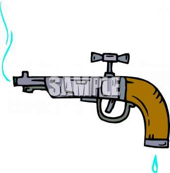 0511-1003-0304-3536_Water_Faucet_Shaped_Like_a_Gun_clipart_image
