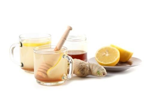 Ginger tea with honey and lemon