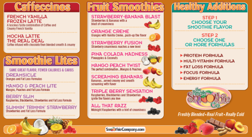 Royale Smoothie Menu